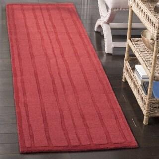 Martha Stewart by Safavieh Freehand Stripe Vermillion Wool Runner (2' 3 x 8')