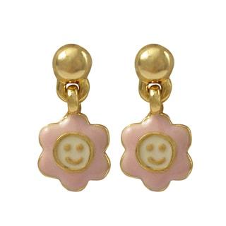 Luxiro Gold Finish Pink Enamel Smiley Face Flower Girls Dangle Earrings