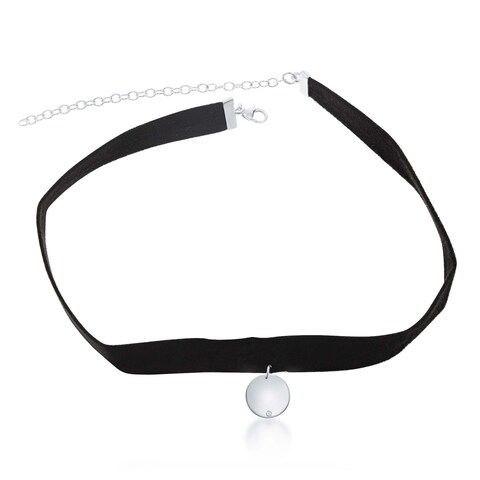 La Preciosa Sterling Silver Hanging Circle Disc with CZ Suede Choker Necklace