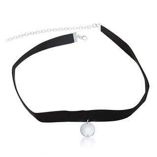 La Preciosa Sterling Silver Hanging Circle Disc with CZ Suede Choker Necklace