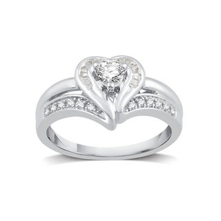 Platinaire 3/8ct TDW Diamond Fashion Heart Shape Ring (I-J, I2)