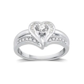 Platinaire 3/8ct TDW Diamond Fashion Heart Shape Ring - White I-J