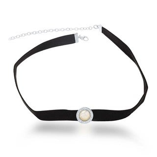 La Preciosa Sterling Silver Round Mother of Pearl and Cubic Zirconia Black Suede Choker