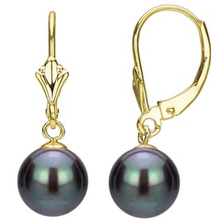 DaVonna 14k Yellow Gold 9-10mm Round Black Freshwater Pearl Design Lever-back Earrings