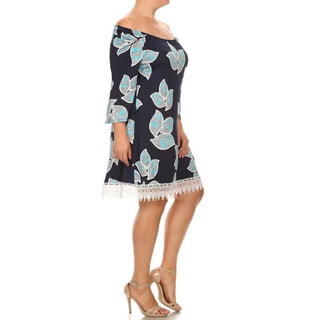 Women's Blue Polyester/Spandex Plus Size Floral Lace Trim Dress