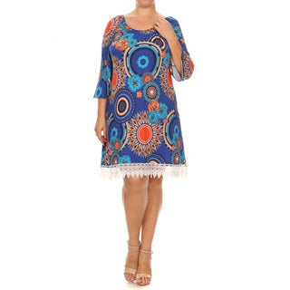 Women's Plus Size Kaleidoscope Polyester, Spandex Lace Trim Dress