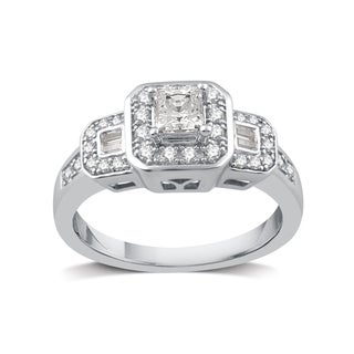 Platinaire 1/2 TDW Princess Cut Engagement Ring (I-J, I2-I3)