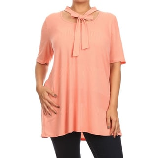 Women's Polyester Blend Plus Size Solid Neck Tie Top