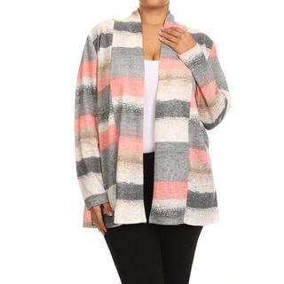 Women's Polyester and Spandex Plus-size Striped Knit Cardigan