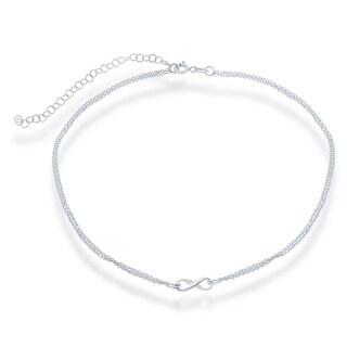 La Preciosa Sterling Silver Double-strand Infinity Choker Necklace