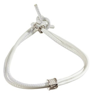White/Silvertone Sterling Silver/Leather Bracelet