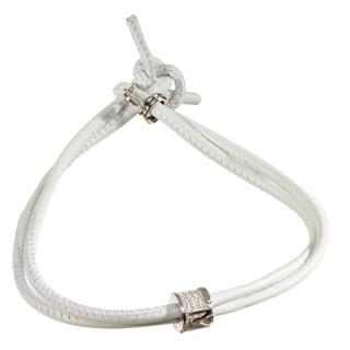 White/Silvertone Sterling Silver/Leather Bracelet