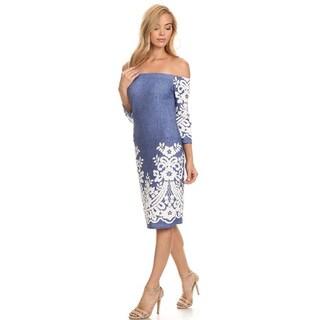 Women's Blue Denim Paisley Bodycon Dress