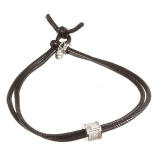 Sterling Silver and Black Nappa Leather Bracelet