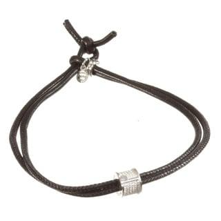 Sterling Silver and Black Nappa Leather Bracelet