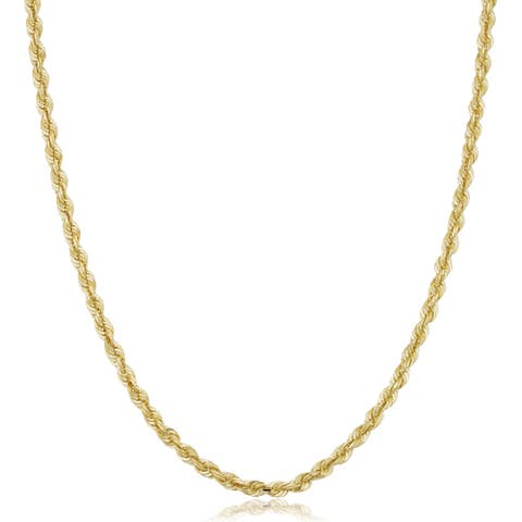 10k Gold Unisex 3.2-mm Semi Solid Rope Chain Necklace (16-30 inches)
