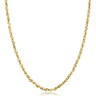 10k Yellow Gold Unisex 3.2-mm Semi Solid Rope Chain Necklace