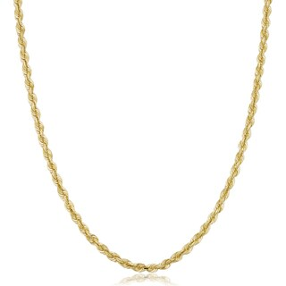 Fremada Unisex 10k Yellow Gold 3.2-mm Semi Solid Rope Chain Necklace (16 - 30 inches)