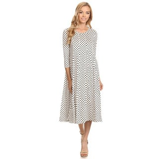 Women's Black and White Rayon and Spandex Polka-dot Dress