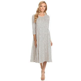Women's Black and White Rayon and Spandex Polka-dot Dress|https://ak1.ostkcdn.com/images/products/13525671/P20206648.jpg?impolicy=medium