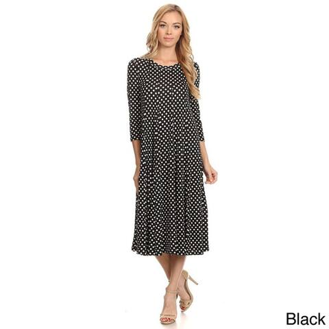 Women's Black and White Rayon and Spandex Polka-dot Dress