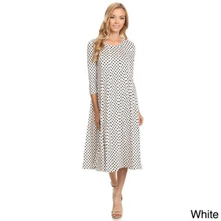 Women's Black and White Rayon and Spandex Polka-dot Dress (More options available)