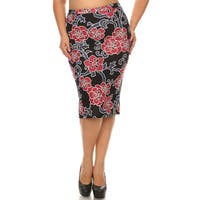 Women's Plus Size Abstract Floral Pencil Skirt