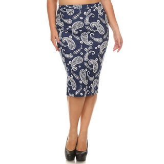 Women's Plus-size Abstract Red and Polyester Pencil Skirt (3 options available)