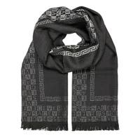 Versace Collection Black Wool Logo Ombre Scarf
