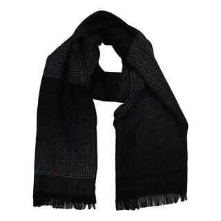 Versace Collection Medusa Black Wool Geometric Scarf