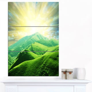 Designart 'Green Mountains under Sun' Landscape Wall Art Canvas