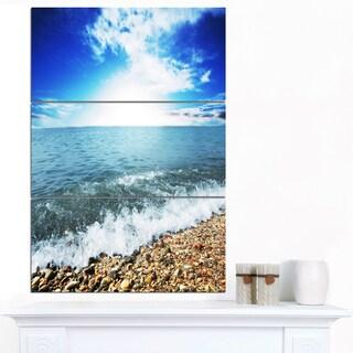 Designart 'Crystal Clear Blue Sea Waves' Seashore Canvas Wall Artwork