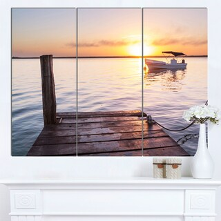 Designart 'Boat View From Boardwalk on Beach' Large Seashore Canvas Art