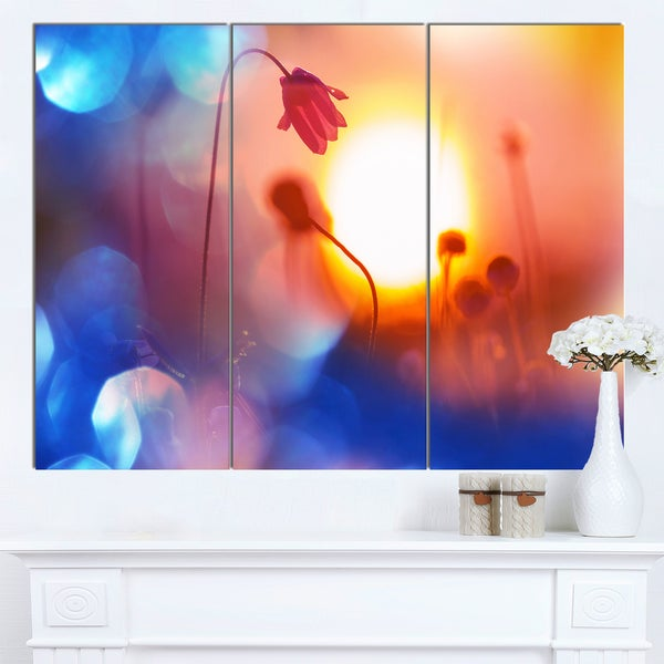 Designart 'Beautiful Blurred Flowers At Sunset' Floral Artwork on Canvas - Blue