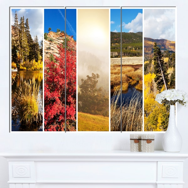 Designart 'Autumn in Sierra Nevade Collage' Oversized Landscape Canvas Art