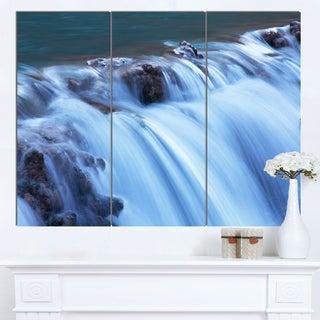 Designart 'Fantastic Blue Water Cascade' Extra Large Landscape Canvas Art