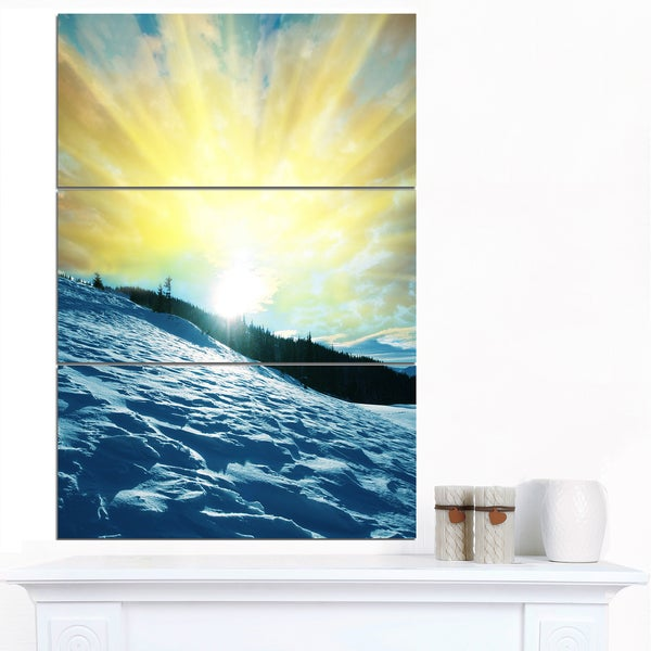 Designart 'Winter with Blue Waters At Sunset' Seashore Wall Art Print