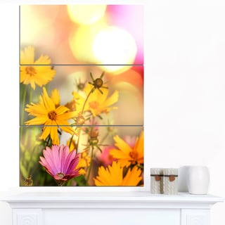 Designart 'Blooming Yellow and Pink Flowers' Floral Artwork on Canvas