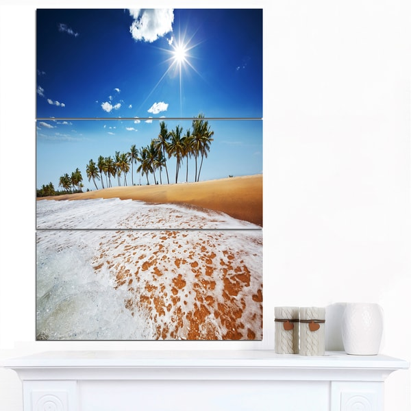 Designart 'Beautiful Seashore and Palm Trees' Seashore Canvas Art Print