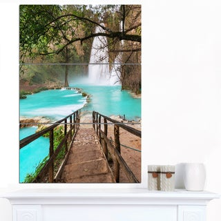 Designart 'Stairway into Beautiful Waterfall' Oversized Landscape Canvas Art