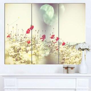 Designart 'Red and White Poppy Flowers Field' Large Flower Wall Artwork