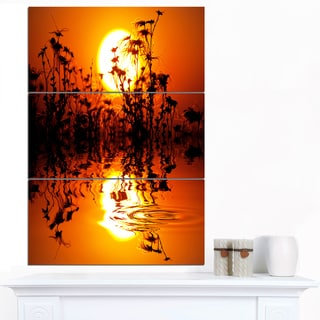Designart 'Flowers Silhouette View At Sunset' Extra Large Landscape Canvas Art