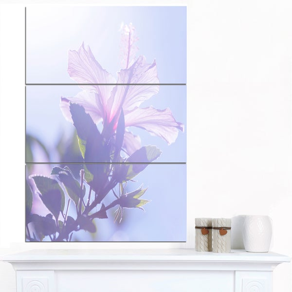 Designart 'Pink Hibiscus Flower in Hawaii' Large Flower Wall Artwork - Pink