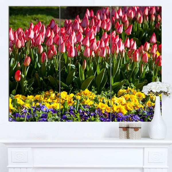 Designart 'Red Tulips with Yellow Purple Flowers' Large Flower Wall Artwork - Red