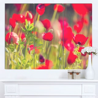 Designart 'Red Poppies on Green Background' Large Flower Wall Artwork