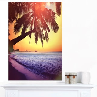 Designart 'Beach with Silhouettes of Palms' Seashore Canvas Art Print