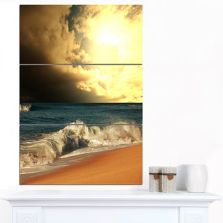Designart 'Rushing Waves under Cloudy Sky' Seashore Wall Art Print