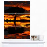 Designart 'Tree Silhouette and Dramatic Sunset' Oversized African Landscape Canvas Art