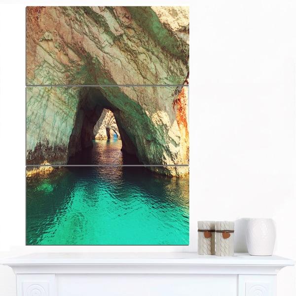 Designart 'Beautiful Sea Cave in Greece' Landscape Art Print Canvas - Green/Tan