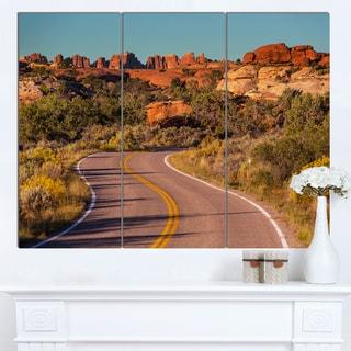 Designart 'Road in Rocky American Prairie' Landscape Art Print Canvas